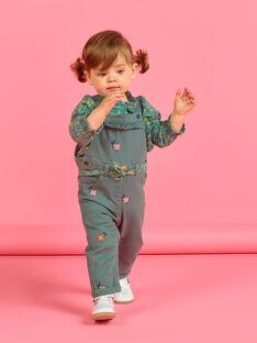 Jardineiras caqui com bordados floridos bebé menina MIKASAL / 21WG09I1SAL626