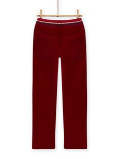 Calças de veludo forrado vermelho bordô menino MOFUNPAN / 21W902M2PAN511