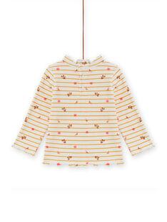 Camisola interior canelada às riscas e estampado florido bebé menina MISAUSOUP / 21WG09P1SPL001