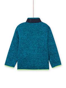 Casaco de malha turquesa mesclado com aplicações verde fluorescente e azul-marinho menino MOJOGITEK1 / 21W90212GILC200