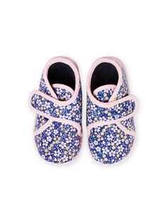 Pantufas azul-marinho estampado florido bebé menina MIPANTFLOWER / 21XK3721D0A070