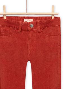 Calças de veludo canelado vermelho-alaranjado menino MOJOPAVEL7 / 21W902N3PANE408