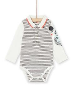 Body cru e azul às riscas em algodão bebé menino LUPOEBOD / 21SG10Y1BOD001