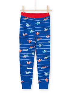 Conjunto pijama T-shirt e calças azul e vermelho estampado às riscas e helicópteros menino MEGOPYJAVIO / 21WH1285PYJC214
