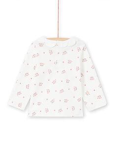 T-shirt mangas compridas cru com estampado cabeças de leopardo e flores bebé menina MIPABRA / 21WG09H2BRA001