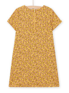 Vestido amarelo com estampado florido e estampado de mala menina MASAUROB4 / 21W901P4ROBB107