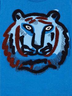 T-shirt azul em algodão menino LOBLETEE2 / 21S902J3TML702