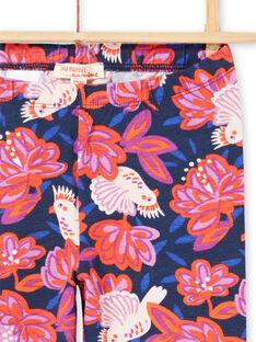 Leggings azuis-marinho estampado pássaros e flores coloridas menina MYAPALEG / 21WI01H1CALC205