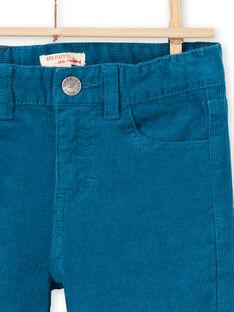 Calças azul-pato em veludo menino MOJOPAVEL1 / 21W90213PAN714