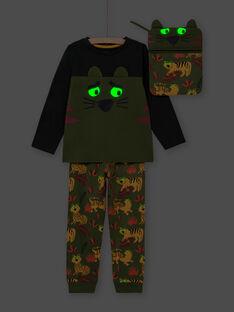 Conjunto pijama fosforescente caqui com padrões tigres menino MEGOPYJMAN3 / 21WH1273PYGG618