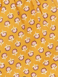 Calções amarelos e rosa com padrões floridos em algodão criança menina LAPOESHORT / 21S901Y1SHO107