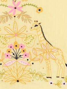 Vestido amarelo com bordado girafas e folhagens LAJAUROB4 / 21S901O3ROB116