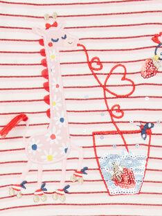 T-shirt vermelha e branca às riscas Lurex® bebé menina LICANTEE / 21SG09M1TML001