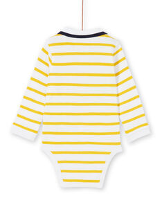 Body branco e amarelo às riscas em algodão bebé menino LUNOBOD / 21SG10L1BOD000