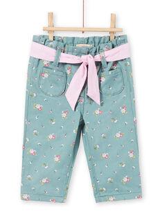 Calças azul claro com estampado florido bebé menina MIKAPAN / 21WG09I1PAN612