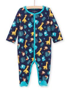 Babygro reversível azul noite com estampado animais bebé menino MEGAGREANI / 21WH1486GREC205