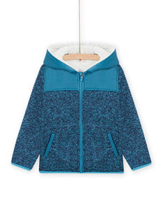 Casaco com zip e capuz de composição técnica azul menino MOJOTEKGIL3 / 21W902N3GILC211