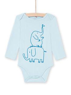 Body mangas compridas azul com padrões elefantes bebé menino MEGABODELE / 21WH14B2BDL222