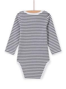 Body de mangas compridas às riscas com padrão de yeti bebé menino MEGABODYET / 21WH14C4BDLJ918