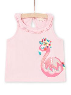 Camisola de alças rosa com folhos bebé menina LIBONDEB / 21SG09W1DEBD318