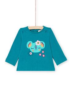 T-shirt mangas compridas azul-pato com padrões coala e flores bebé menina MITUTEE2 / 21WG09K2TMLC217