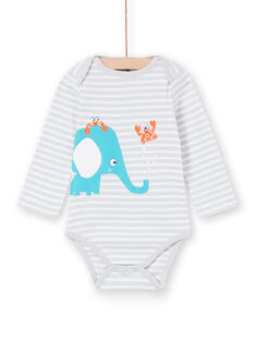Body recém-nascido menino com mangas compridas às riscas elefante LEGABODELE / 21SH1423BDL000