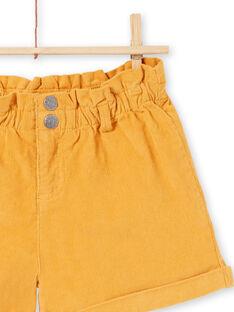 Calções cintura alta mostarda menina MAMIXSHORT / 21W901J1SHOB106