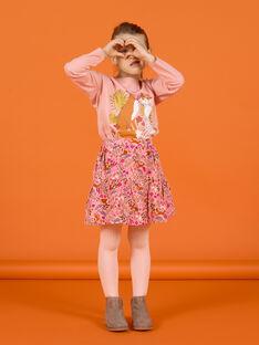 Saia rosa-velho com estampado florido decorativo em veludo menina MASAUJUP2 / 21W901P1JUP303