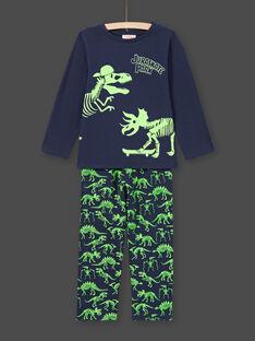 Pijama fosforescente azul-noite com padrões dinossauros menino MEGOPYJGLOW / 21WH1236PYJ705