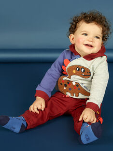 Casaco com capuz tricolor com padrão dinossauro bebé menino MUPAGIL / 21WG10H1GIL943