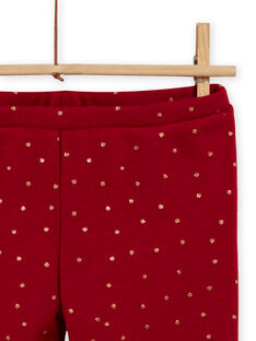 Leggings vermelho carmim forradas às bolas menina MAJOLEG2 / 21W901N5PANF504