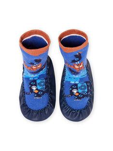 Pantufas altas azuis padrão animais bebé menino MUCHO7ANIM / 21XK3821D08C201