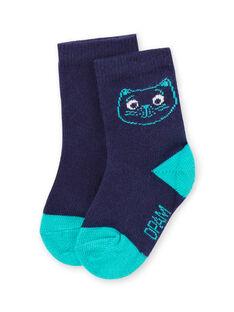 Meias azul com padrão cabeça de gato bebé menino MYUJOCHOU4 / 21WI1011SOQ713