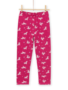 Conjunto pijama T-shirt e calças rosa escuro menina MEFAPYJLIC / 21WH1173PYGD312