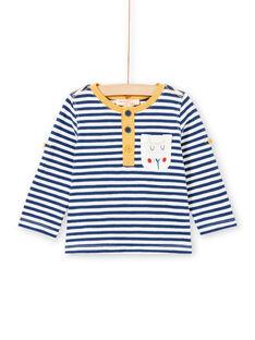 T-shirt às riscas de mangas compridas arregaçáveis bebé menino MUJOTUN2 / 21WG1024TML713