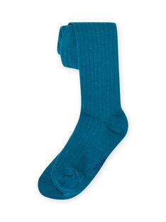 Collants lisos canelados azul-pato menina MYAJOCOL4 / 21WI0118COL714