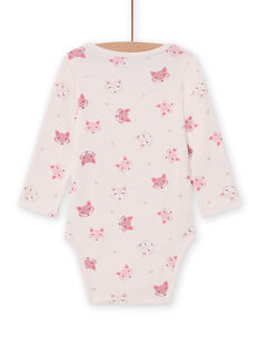 Body mangas compridas rosa estampado raposa bebé menina MEFIBODTET / 21WH13C1BDL632