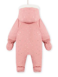 Macacão com capuz rosa às bolinhas bebé menina MIKAPIL / 21WG0961PIL303