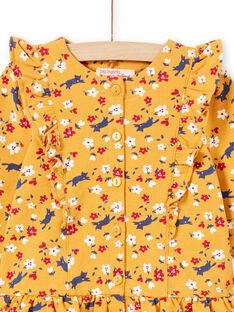 Vestido amarelo mostarda estampado florido e leggings azul-marinho bebé menina MIMIXENS / 21WG09J1ENSB106