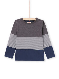 T-shirt cinzenta mesclada e azul-marinho menino MOJOTIDEC3 / 21W90222TML944