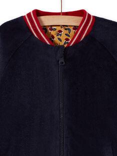 Cardigã teddy reversível azul-noite menina MAMIXCAR2 / 21W901J1CARC205