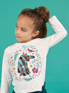 T-shirt de mangas compridas com padrão unicórnio de lantejoulas reversíveis menina MATUTEE2 / 21W901K4TML001