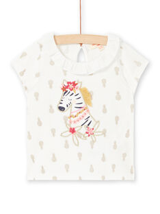 T-shirt cru com estampado ananás bebé menina LITERBRA / 21SG09V1BRA001