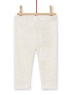 Leggings forrado bege mesclado com padrões coelhos bordados bebé menina MIJOPANDOU1 / 21WG0911PANA011
