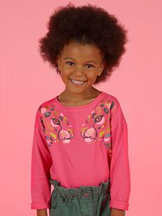 T-shirt mangas compridas rosa com padrões leopardos menina MAKATEE2 / 21W901I1TMLD305
