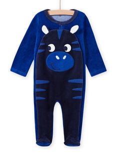 Babygro azul com padrão de zebra em veludo bebé menino MEGAGREZEB / 21WH1491GRE217