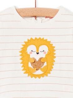 T-shirt cru e amarela às riscas bebé menina LIPOETEE2 / 21SG09Y1TML001