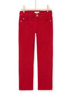 Calças de ganga lisas vermelho menino MOJOPAKNI3 / 21W90225PAN506