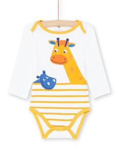 Body branco e amarelo às riscas bebé menino MEGABODHIP / 21WH14B6BDL000