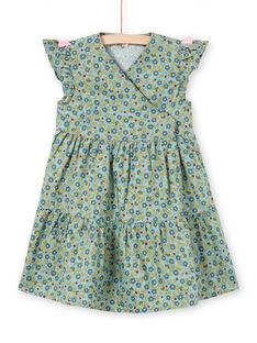 Vestido caqui de mangas curtas estampado florido menina MAKAROB2 / 21W901I1ROB612